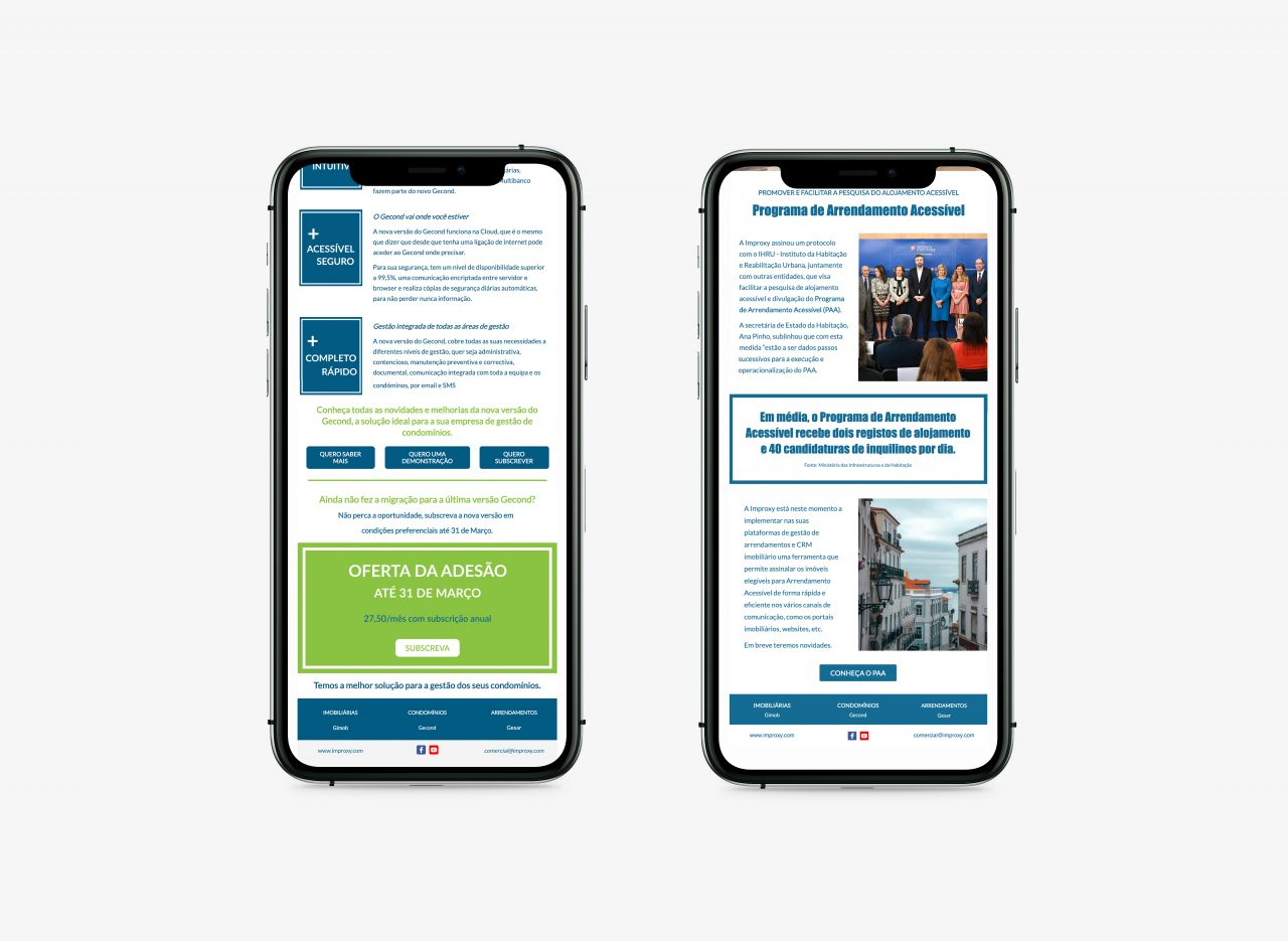 Improxy newsletters mobile